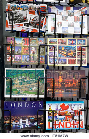 Tourist postcards of iconic London landmarks - Stock Photo
