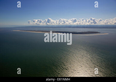 Aerial view, Spiekeroog, island in the North Sea, East Frisian Islands, Lower Saxony, Germany - Stock Photo