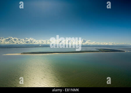 Aerial view, Langeoog, island in the North Sea, East Frisian Islands, Lower Saxony, Germany - Stock Photo