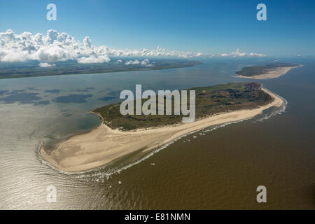 Aerial view, Wadden Sea, Baltrum, island in the North Sea, East Frisian Islands, Lower Saxony, Germany - Stock Photo