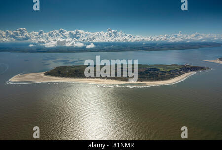 Aerial view, Baltrum, island in the North Sea, East Frisian Islands, Lower Saxony, Germany - Stock Photo