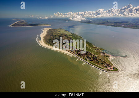Aerial view, groynes protection against land being washed away, Wadden Sea, Baltrum, island in the North Sea - Stock Photo