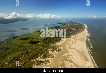 Aerial view, Northern beach, Wadden Sea, Norderney, island in the North Sea, East Frisian Islands, Lower Saxony, - Stock Photo