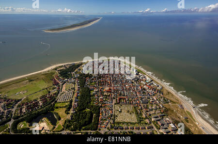 Aerial view, town of Norderney, western part of the island, Wadden Sea, Norderney, island in the North Sea, East - Stock Photo