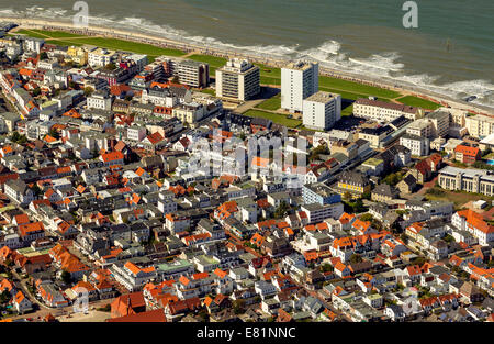 Aerial view, Norderney, island in the North Sea, East Frisian Islands, Lower Saxony, Germany - Stock Photo