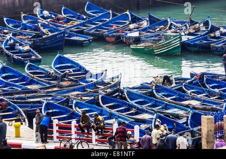 Harbour with fishing boats, Essaouira, Marrakech-Tensift-El Haouz, Morocco - Stock Photo