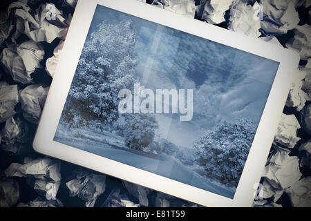 Tablet pc showing road image - Stock Photo