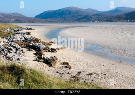 Luskentyre Beach on the west coast of the Isle of Harris. - Stock Photo