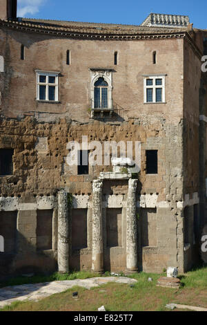 Columns of the Foro di Augusto incorporated into the facade of a medieval building Rome Forum of Augustus Italy Stock Photo