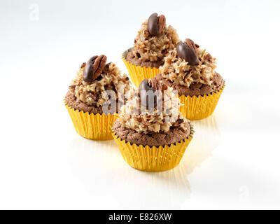 German chocolate cupcakes - Stock Photo
