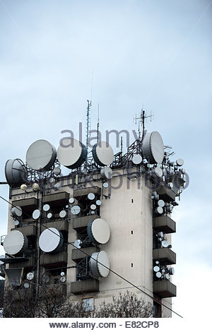 Communications tower against sky - Stock Photo
