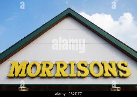 Sign over the entrance to a Morrisons supermarket, Leominster, UK - Stock Photo