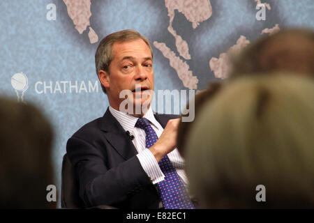Nigel Farage, leader of the UK Independence Party, speaking at Chatham House in London on Monday 31 March 2014. - Stock Photo