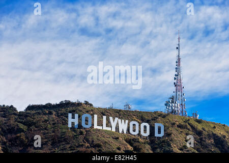 USA, California, Los Angeles, Hollywood Hills, Hollywood Sign - Stock Photo
