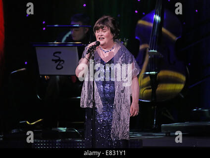Susan Boyle performing live on stage at Manchester Bridgewater Hall  Featuring: Susan Boyle Where: Manchester, United - Stock Photo