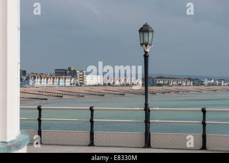 East Worthing beach and seafront from the end of the Art Deco pier - Stock Photo