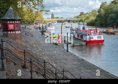 Tourist boats moored at River Dee, Chester, Cheshire, England UK - Stock Photo