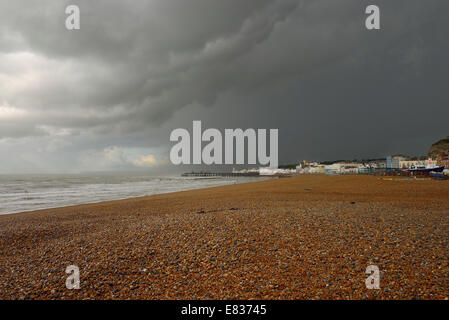Heavy thunderstorms over Hastings seafront Stock Photo