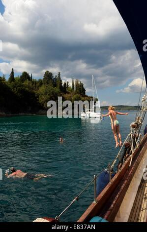 Lazy days boat cruise. Ionian Sea, Lefkas. Greek Islands - Stock Photo