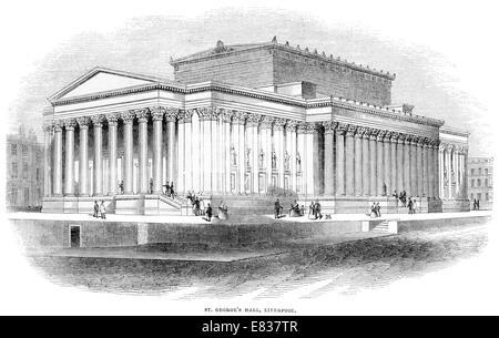Saint George's Hall Liverpool circa 1844 - Stock Photo