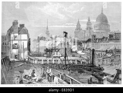 Railway works Blackfriars Opening towards Ludgate Hill 1864 - Stock Photo