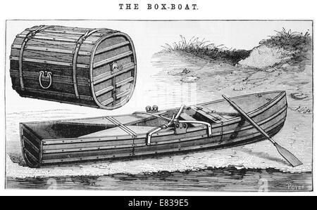 wood box rowing boat circa 1885 - Stock Photo