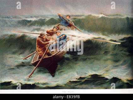 Lithograph Rowing boat in breakers circa 1885 - Stock Photo