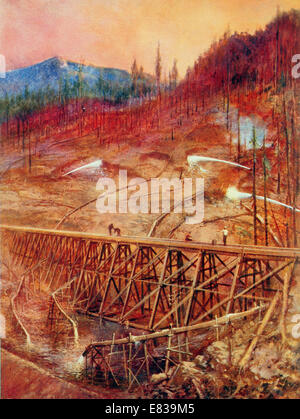 Filling in a timber trestle by Hydraulic sluicing circa 1920 - Stock Photo