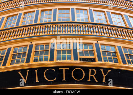 HMS Victory, Nelson's flagship, in Portsmouth. - Stock Photo