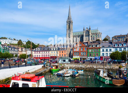 The harbour and St Colman's Cathedral, Cobh, County Cork, Republic of Ireland - Stock Photo