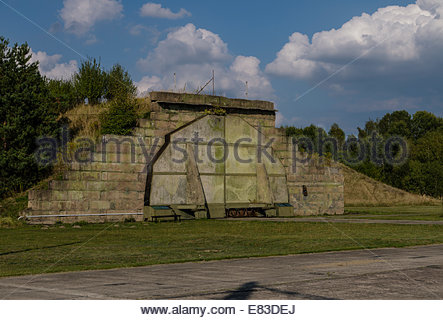 Old Soviet Airfield base at Finow  former DDR East Germany  Aircraft Hard Shelters left behind by Russians  Museum - Stock Photo