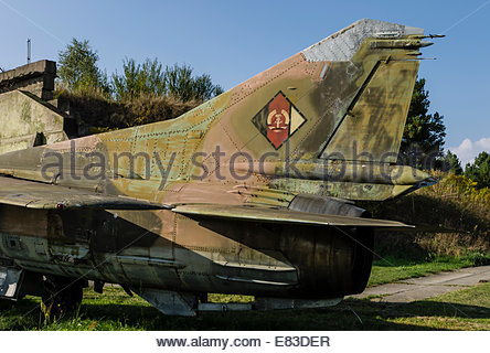 Old Soviet Airfield base at Finow  former DDR East Germany Aircraft remains left behind by Russians  Museum Cold - Stock Photo