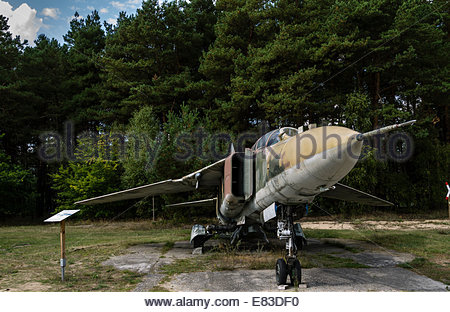 Old Soviet Airfield base at Finow  former DDR East Germany Mig 23  Museum - Stock Photo