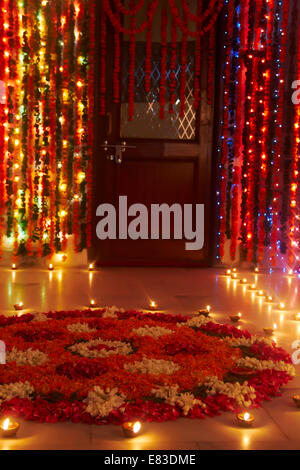 indian Diwali Festival Rangoli - Stock Photo