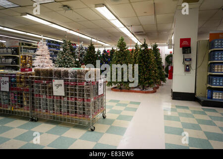 Seasonal Christmas display in a KMart store in New York - Stock Photo