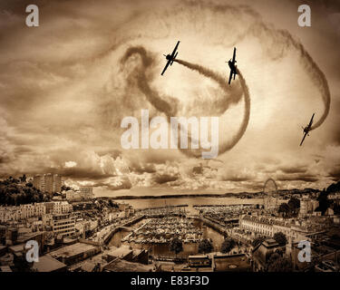 GB - DEVON: The Blades Aerobatic Display Team performing over Torquay - Stock Photo