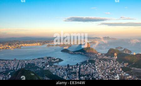 Rio de Janeiro, view from Corcovado to Sugarloaf Mountain - Stock Photo
