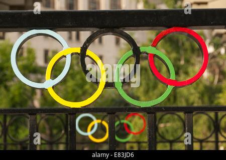 Elk203-6192 Canada, Alberta, Calgary, downtown, Olympic rings - Stock Photo