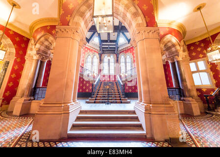 Central staircase of the St. Pancras Renaissance London Hotel, London, England, UK - Stock Photo