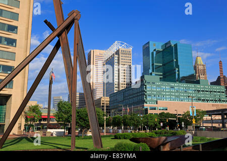 Sculpture by Mark di Suvero outside the World Trade Center, Inner Harbor, Baltimore, Maryland, USA - Stock Photo