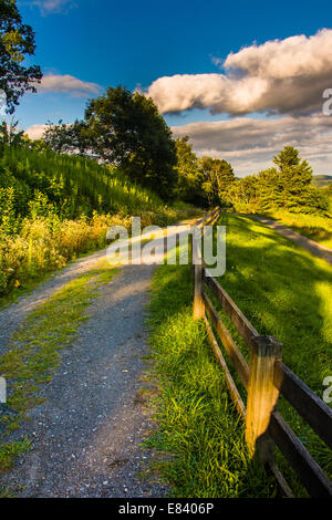 Trail and fence at Moses Cone Park, along the Blue Ridge Parkway in North Carolina. - Stock Photo