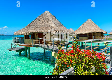 Overwater bungalows, Bora Bora, French Polynesia - Stock Photo