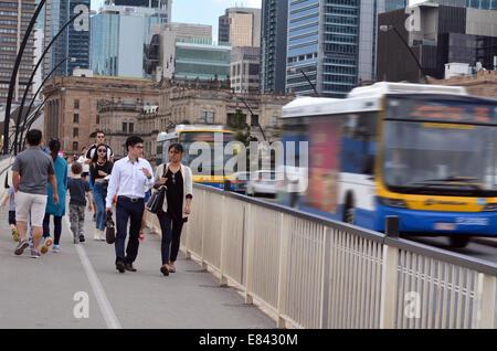 BRISBANE, AUS - SEP 24 2014:Traffic on Victoria Bridge in Brisbane.The Victoria Bridge is a vehicular and pedestrian - Stock Photo