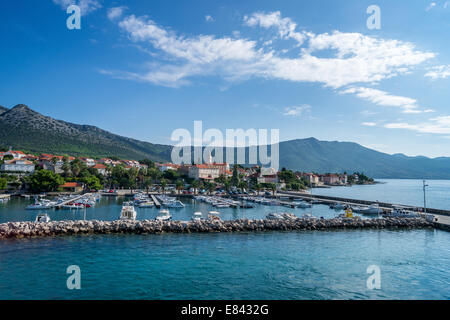 View of a small town Orebić in Croatia - Stock Photo