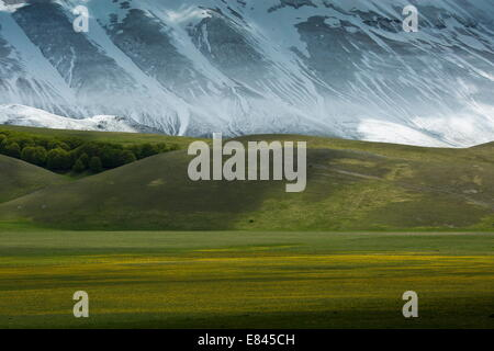 The Piano Grande - a large flat inwardly-draining plain - in spring, Monti Sibillini National Park, Italy. - Stock Photo