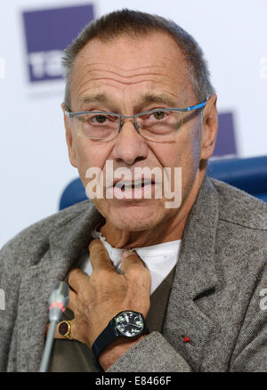 Moscow, Russia. 30th Sep, 2014. Russian director Andrei Konchalovsky s at a press conference on staging the Crime - Stock Photo