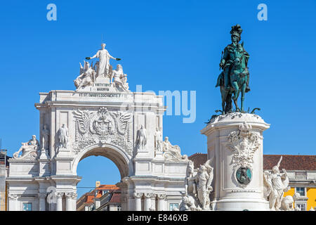 Close-up on the Triumphal Arch and King Dom Jose I statue in Praca do Comercio or Terreiro do Paco square in Lisbon. - Stock Photo