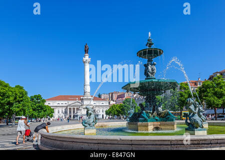 Lisbon, Portugal. One of the two fountains in Dom Pedro IV Square, better known as Rossio with the Dom Pedro IV - Stock Photo