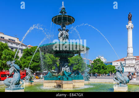 Lisbon, Portugal. Close-up on one of the two fountains in Dom Pedro IV Square, better known as Rossio with the Dom - Stock Photo