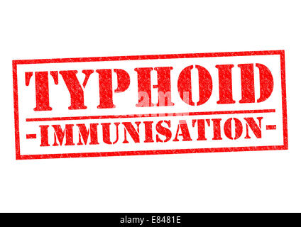 TYPHOID IMMUNISATION red Rubber Stamp over a white background. - Stock Photo